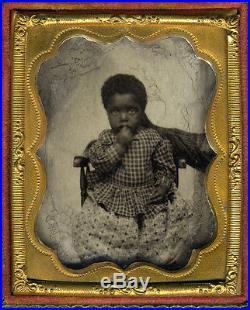 RARE HIDDEN BLACK MOTHER BLACK CHILD AMBROTYPE LATE 1850s ANTIQUE PHOTO
