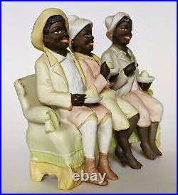 RARE Large GERMAN BISQUE Porcelain SCHAFER VATER 3 BOYS Figure BLACK AMERICANA