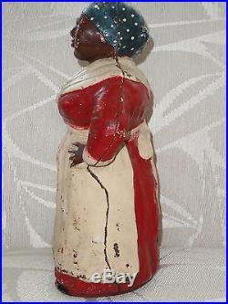 RARE Old Hubley Mammy 12 Cast Iron Door Stop Black Americana