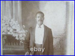 RARE PAIR (2) Wedding Cabinet RAILROAD PHOTOS, DRESSY African Americans, c1880