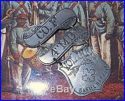 RARE SHIELD-US COLORED TROOPS 4TH MD. Veteran 1861-5 Pin Badge Medal