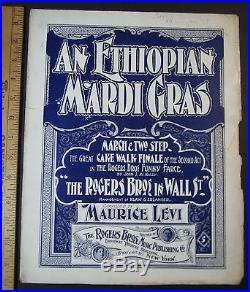 RARE Sheet Music Ethiopian Mardi Gras 1899 Ragtime by Levi Black Americana