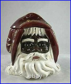RARE VICTORIAN SANTA HEAD COOKIE JAR BLACK AMERICANA BY S. CORL WithGOLD HOLLY