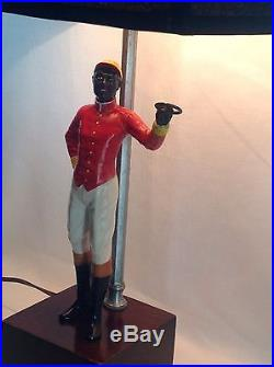 Rare Vintage Cast Iron Lawn Jockey Salesman Sample Statue Made Into Lamp