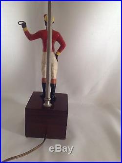 Rare Vintage Cast Iron Lawn Jockey Salesman Sample Statue Made Into Lamp