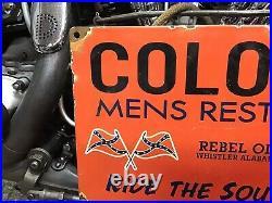 RARE VINTAGE PORCELAIN 1949 REBEL OIL MENS RESTROOM SIGN Black AMERICANA GAS