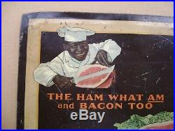RARE! Vintage! Armour's Star Black Americana Sign THE HAM WHAT AM and BACON TOO