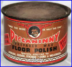 RARE Vintage Piccaninny African Americana Floor Polish Tin Advertising Metal 4D