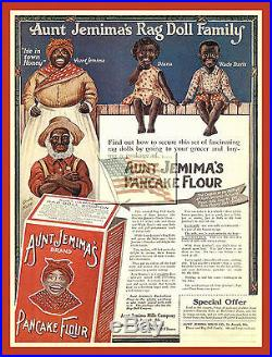 REPRINT PICTURE old AUNT JEMIMA'S RAG DOLL FAMILY pancake flour ad RED 5 5/16x7