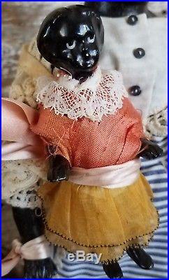 Rare 14.5Antique Black Paper Mache Doll Glass Eye Papier&5Frozen Charlotte Lot
