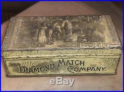 Rare 1800STHE DIAMOND MATCH CO. TIN BOX-Black Family 1st Match-Black Americana