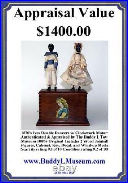 Rare 1870's Ives Double Dancers with Clockwork Motor Orig Key Black Americana Toy
