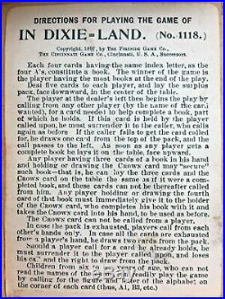 Rare 1897 Game Of In Dixie Land Cards No. 1118 Fireside Black Americana Antique