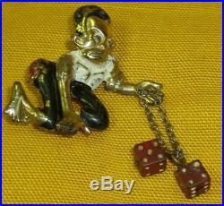 Rare 1920's c Black Memorabilla Caricature Gambler Boy Gold Tone Brooch Pin