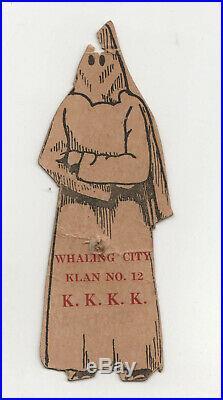 Rare 1926 NEW BEDFORD MASSACHUSETTS KKK Ku Klux Klan TAG KKKK Black RACIST