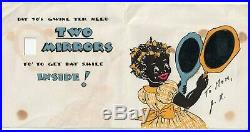 Rare 1937 Black Americana Hallmark Birthday Card Actual Glass Mirrors Picaninny