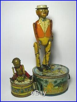 Rare 1940's Black Americana Jigger Candombe Dancer Duet Wind-Up Tin Toy Man/Boy