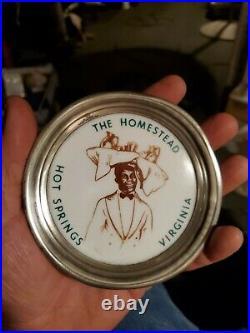 Rare 1940s SOUVENIR THE HOMESTEAD HOT SPRINGS VA Hotel Tip Tray Black Americana