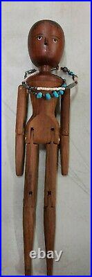 Rare 1990's Fred T. Laughon SIGNED/ENGRAVED Black Americana 11 Wooden Doll