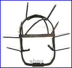 Rare 19th C American Antique Hand Forged Iron Spiked Weaning Cow Calf Head Guard