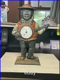 Rare 19th century Bradley & Hubbard Black Americana Minstrel Clock