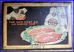 Rare Antique Armour's Star Ham Black Americana 13 x 19 Metal Sign Advertising