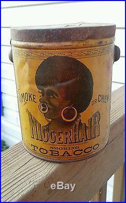 Rare Antique Black Americana Bigger Hair Tobacco Tin