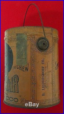 Rare Antique Black Americana Bigger Hair Tobacco Tin B. Leidersdorf Co Pat. 1878
