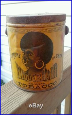 Rare Antique Black Americana Bigger Hair Tobacco Tin (with Lid & IRS sticker)