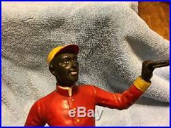 Rare Antique Iron Black Americana Lawn Jockey Bookend Statues Hitching Post