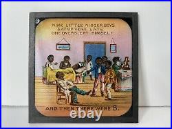Rare Antique Ten Little Nigger Boys Primus Coloured Lantern Slides Set of 8