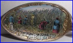 Rare Antique sterling silver Black Americana enamel spoon New Orleans sugar cane