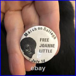 Rare Black Americana 1970's Protest Pin Button Civil Rights Free Joanne Little