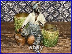 Rare Black Americana, Antique Cigar Holder, Boy On Basket With Match Holder