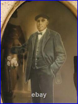Rare Black Americana -Antique Convex Frame -Period Albumin Portrait