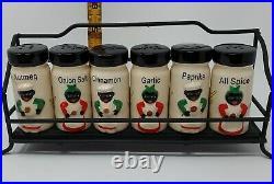 Rare Black Americana Spice Set and Rack (6 shakers)