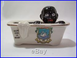 Rare Boy in Bathtub How Ink Is Made Vintage Black Americana England Crest