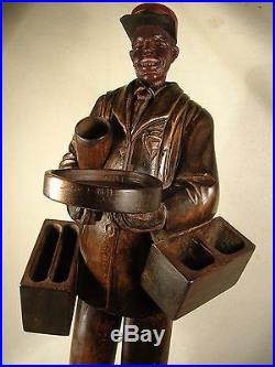 Rare Ca 1920's Red Capped Black Porter Musical Smoking Stand Automaton 36 Wood