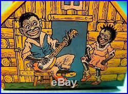 Rare Chein Log Cabin Still Coin Bank 1930s Black Americana Tin Litho with Key