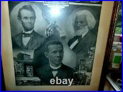 Rare Early Fred Douglass Booker T Washington Abraham Lincoln ONWARD Lithogra