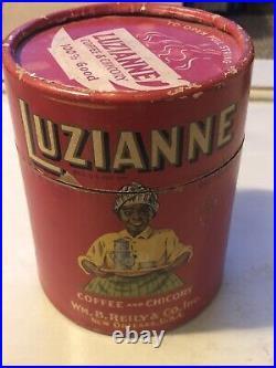 Rare Early Luzianne Coffee Black Americana Cardboard 1 LB Wm Reily New Orleans