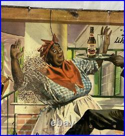Rare Goldblume Cooks Beer Tin Advertising Bar Sign Original Black Americana