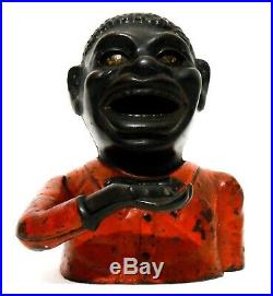 Rare Late 19th C 1882 Antique Black Americana Cast Iron Jolly N. Mechanical Bank