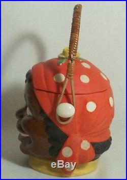 Rare MAMMY Yellow Rose Orange COOKIE JAR Black Americana Basket Handle SALE