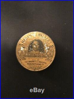 Rare Madam Cj Walkers Vintage Advertising Black Americana Early Tin Hair Grower
