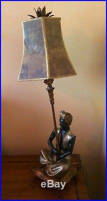 Rare Nubian Lamp Featuring Handsome Blackamoor Figurine