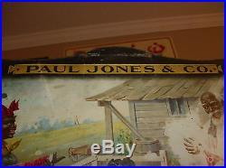 Rare Original 1905 PAUL JONES WHISKEY Sign, Black Americana Advertising Litho
