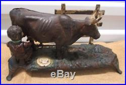 Rare Original' Milking The Cow'cast Iron Mechanical Bank-black Americana -old
