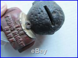 Rare Painted Antique Victorian Cast Iron Bank, Toy, African American, GIFT