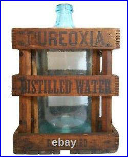 Rare Pureoxia Distilled Water 5 Gl Blue Bottle & Blk Ink Stamped Wood Slat Crate